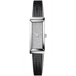 Gucci G-Frame Pave Diamond Dial Steel Womens Watch YA127509