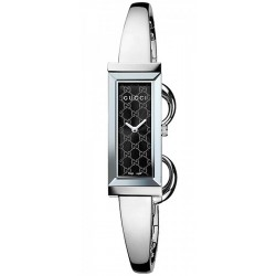 Gucci G-Frame Steel Bangle Black Dial Womens Watch YA127512