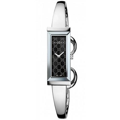 94dd29c93bc Gucci G-Frame Steel Bangle Black Dial Womens Watch YA127512