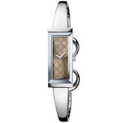 Gucci G-Frame Steel Bangle Brown Dial Womens Watch YA127510
