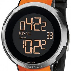 Gucci I-Gucci Digital Orange Rubber Mens Watch YA114104