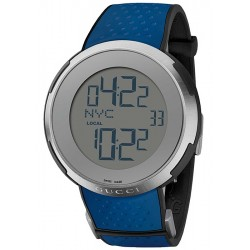 Gucci I-Gucci Digital Blue Rubber Mens Watch YA114105