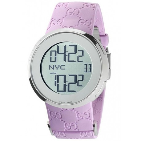 Gucci I-Gucci Digital Pink Rubber Womens Watch YA114404