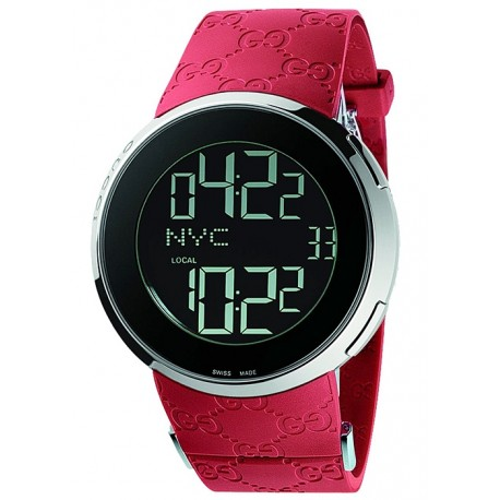 Gucci I-Gucci Digital Red Rubber Mens Watch YA114212