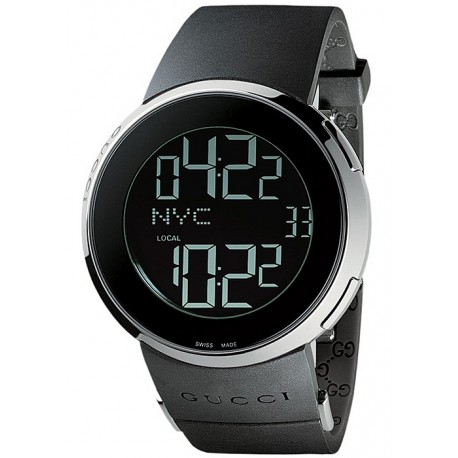 Gucci I-Gucci Digital Black Rubber Mens Watch YA114202