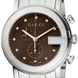 Gucci G-Chrono Diamond Brown Steel Mens Watch YA101350