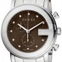 Gucci G-Chrono Diamond Brown Steel Mens Watch YA101350