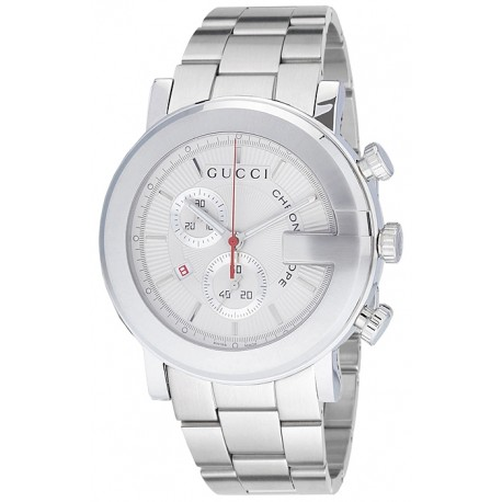 Gucci G-Chrono Silver Steel Mens Watch YA101339