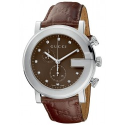 Gucci G-Chrono Diamond Brown Mens Watch YA101344