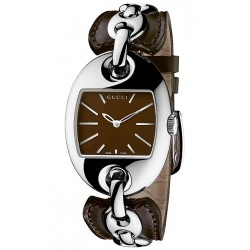Gucci Marina Chain Brown Dial Leather Womens Watch YA121310