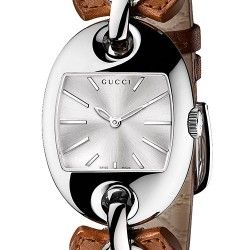 Gucci Marina Chain Steel Brown Leather Womens Watch YA121309