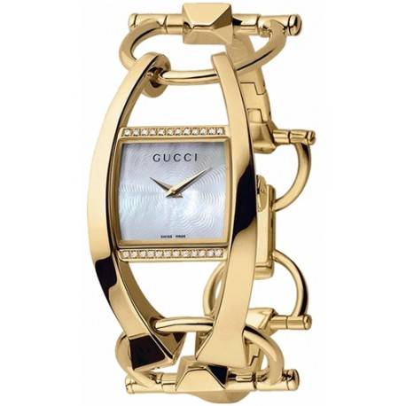 Gucci Chiodo Diamond 18K Yellow Gold Womens Watch YA123505