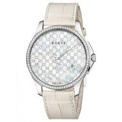 Gucci G-Timeless Slim Diamond White Womens Watch YA126306