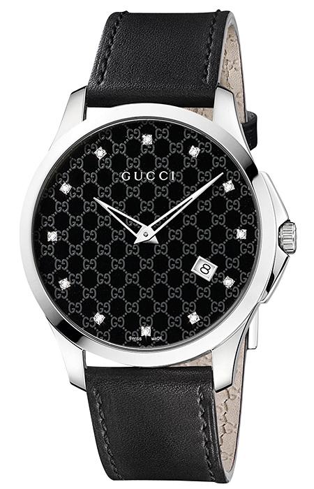 d9b1089fb96 Gucci G-Timeless Slim Diamond Black Dial Womens Watch YA126305