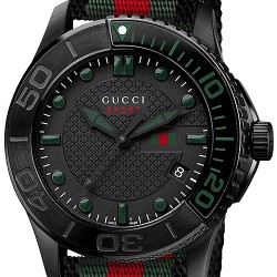 Gucci G-Timeless Sport Web Nylon Mens Black PVD Watch YA126229