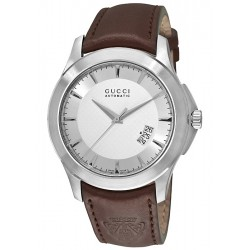 Gucci G-Timeless Automatic Brown Leather Mens Watch YA126216