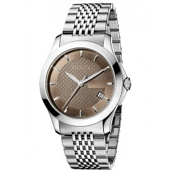 Gucci G-Timeless Steel Brown Mens Watch YA126406