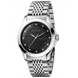 Gucci G-Timeless Black Diamond Dial Steel Mens Watch YA126405