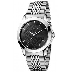 Gucci G-Timeless Steel Black Dial Steel Bracelet Watch YA126402