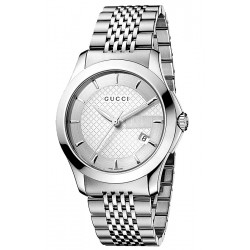 Gucci G-Timeless Steel Silver Dial Steel Mens Watch YA126401