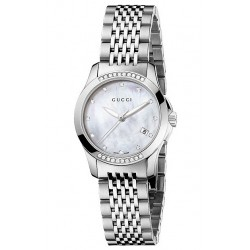 Gucci G-Timeless Diamond Bezel Steel Bracelet Watch YA126510