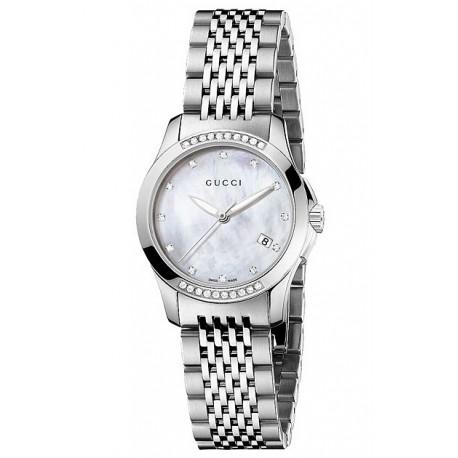 facae5205af Gucci G-Timeless Diamond Bezel Steel Bracelet Watch YA126510