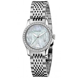 Gucci G-Timeless Diamond Steel Bracelet Womens Watch YA126508