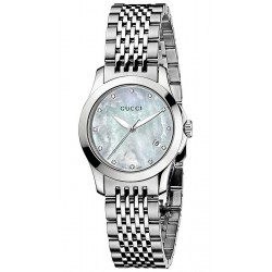 Gucci G-Timeless Diamond Dial Steel Bracelet Watch YA126504
