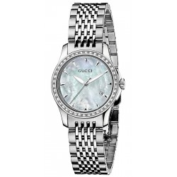 Gucci G-Timeless Diamond Steel Bracelet Womens Watch YA126506
