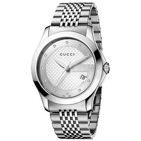dca0ee9dc7b Gucci G-Timeless Diamond Dial Steel Bracelet Mens Watch YA126404