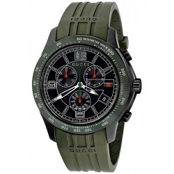 Gucci G-Timeless Chronograph Green Rubber Mens Watch YA126207