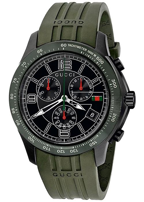 7e22aae6f58 Gucci G-Timeless Chronograph Green Rubber Mens Watch YA126207