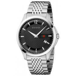 Gucci G-Timeless Slim Steel Bracelet Black Mens Watch YA126309