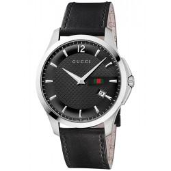 Gucci G-Timeless Slim Black Dial Leather Mens Watch YA126304