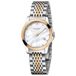 Gucci G-Timeless Diamond Dial 2 Tone Womens Watch YA126514