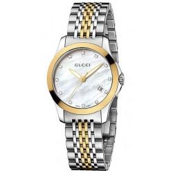 Gucci G-Timeless Diamond Small 2 Tone Womens Watch YA126513