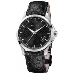 Gucci G-Timeless Automatic Black Leather Mens Watch YA126413
