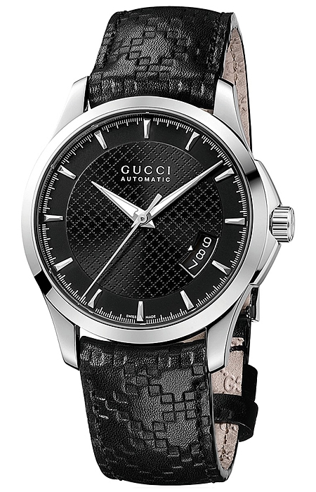 01d2da4179f Gucci G-Timeless Automatic Black Leather Mens Watch YA126413