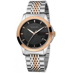 Gucci G-Timeless Steel Bracelet Black Dial Mens Watch YA126410