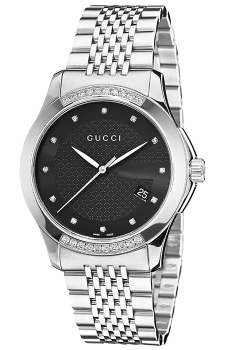 e0cbf9979cf Gucci G-Timeless Diamond Bezel Steel Bracelet Watch YA126408