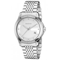 Gucci G-Timeless Steel Bracelet Diamond Mens Watch YA126407