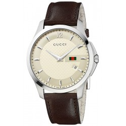 Gucci G-Timeless Slim Brown Leather Ivory Mens Watch YA126303