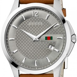 Gucci G-Timeless Slim Brown Leather Mens Watch YA126302