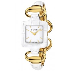Gucci 1921 18K Yellow Gold White Croc Womens Watch YA130408