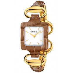 Gucci 1921 18K Yellow Gold Brown Croc Womens Watch YA130407