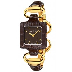 Gucci 1921 18K Yellow Gold Brown Croc Womens Watch YA130406