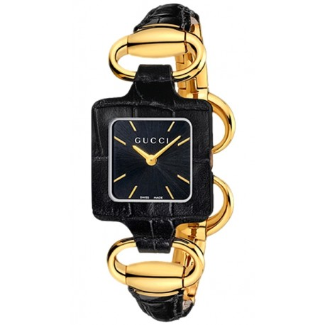 Gucci 1921 18K Gold Black Crocodile Womens Watch YA130405