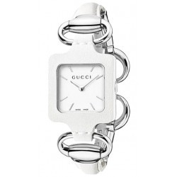 Gucci 1921 White Leather Womens Steel Bangle Watch YA130404