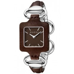 Gucci 1921 Steel Bangle Brown Leather Womens Watch YA130403