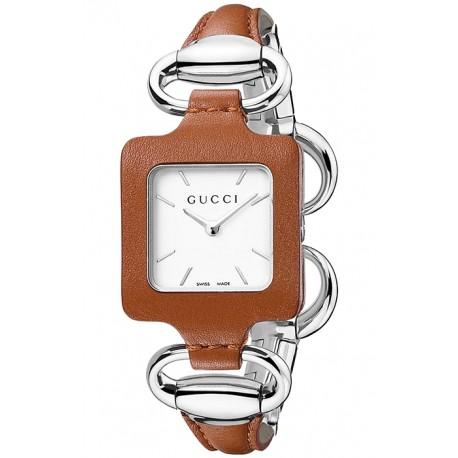 Gucci 1921 Steel Bangle Brown Leather Womens Watch YA130401